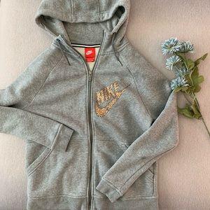 NIKE Grey Hoodie/rose gold swoosh (very soft)